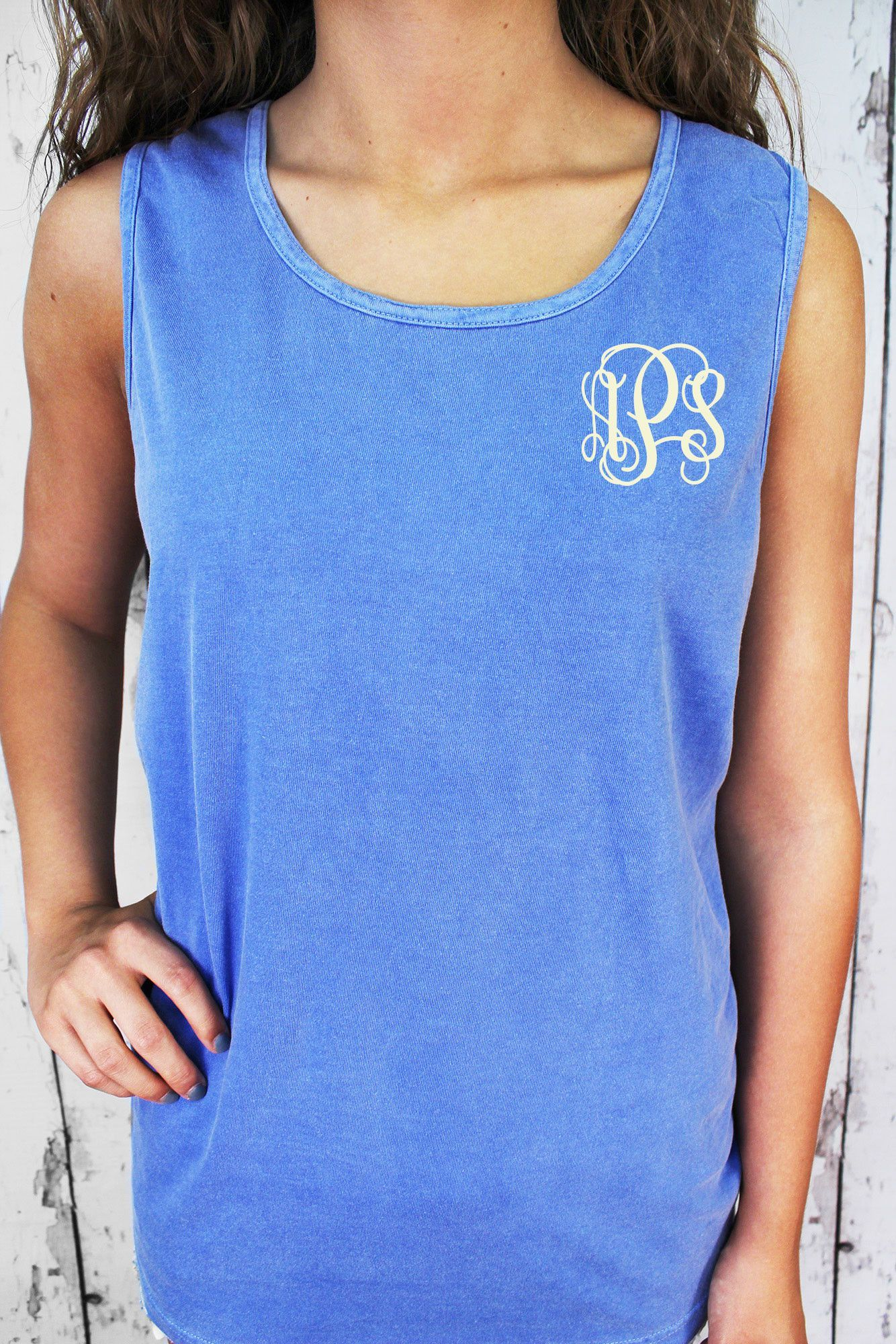 95ac2a2041e2c Shades of Blue Comfort Colors Cotton Tank Top  9360  Personalize It ...