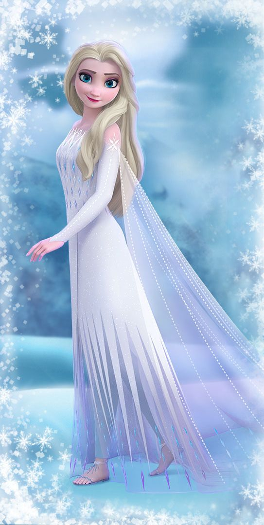 Frozen 2 Elsa In White Dress With Hair Down New Official