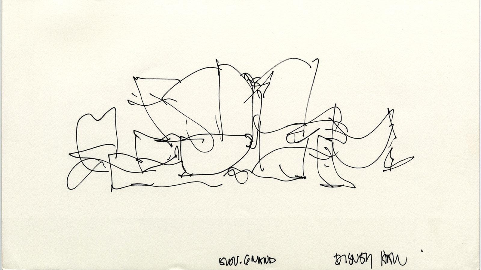 Walt Disney Concert Hall Frank Gehry Sketch Illustration