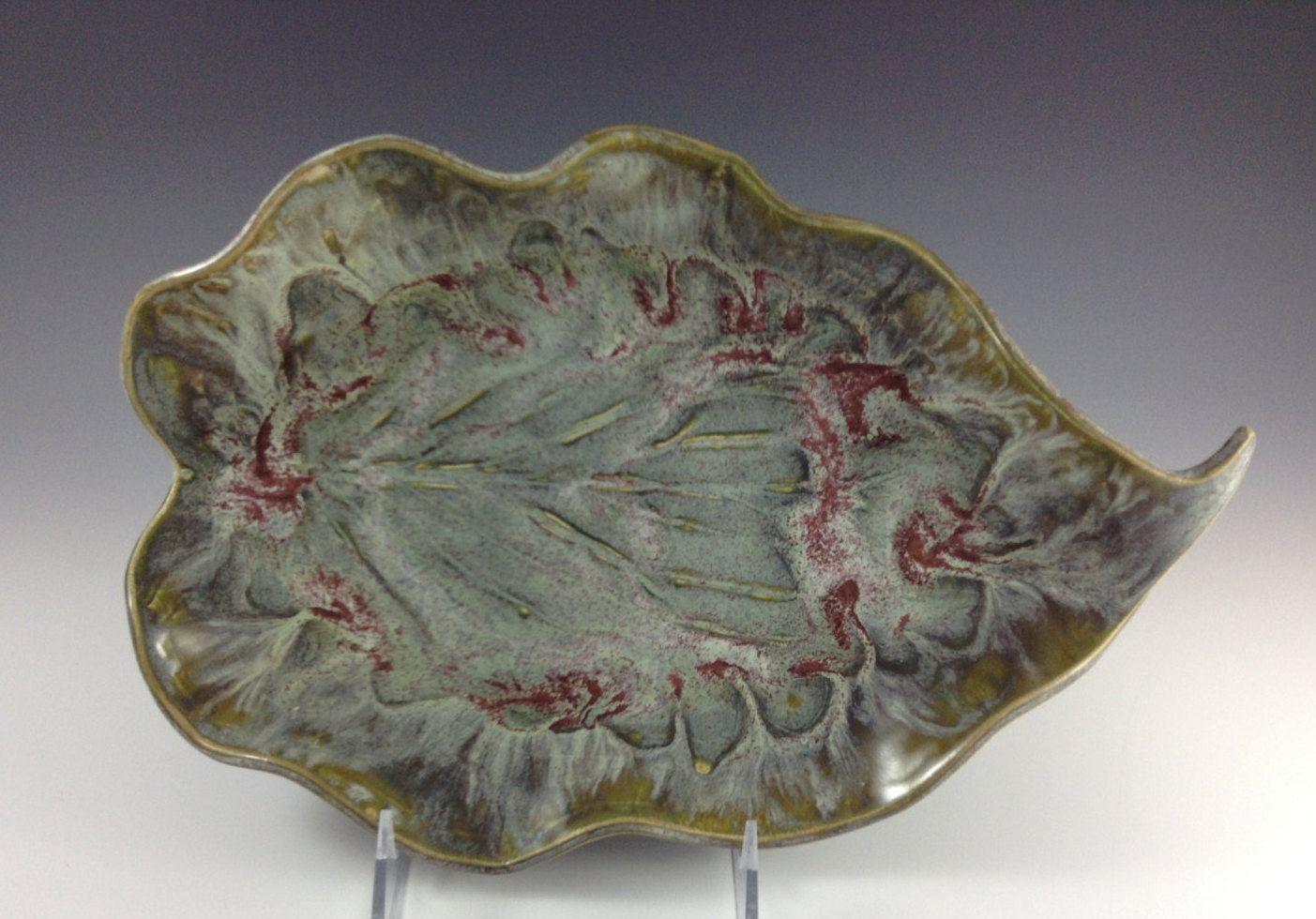 Decorative Leaf Bowl Ceramic Frost Green Hosta Leaf Platter Leaf Bowl Jade Handmade
