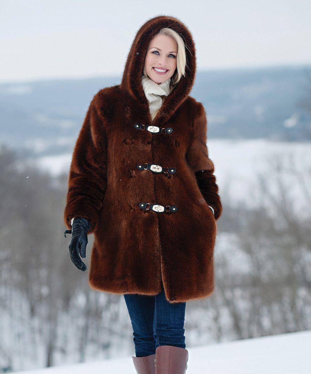 Look at this Donna Salyers' Fabulous-Furs Copper Hooded Coat - Women & Plus on #zulily today!