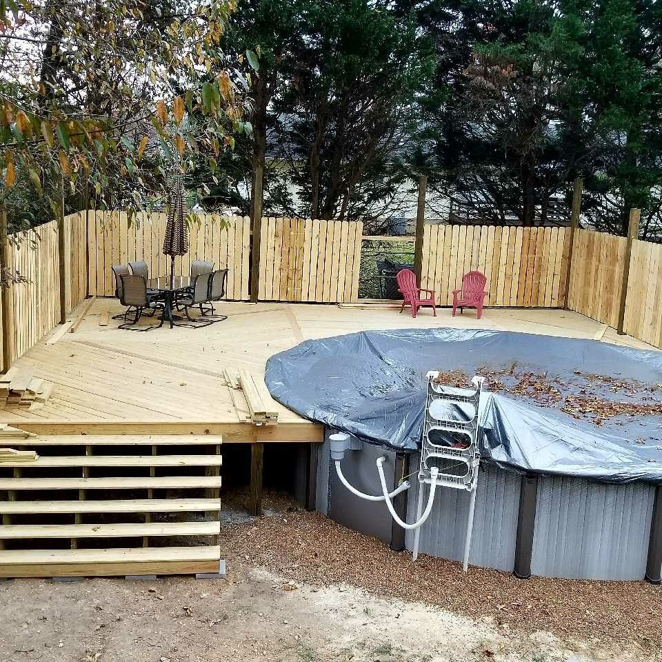 Above Ground Pool Deck 6ft Privacy Fence.