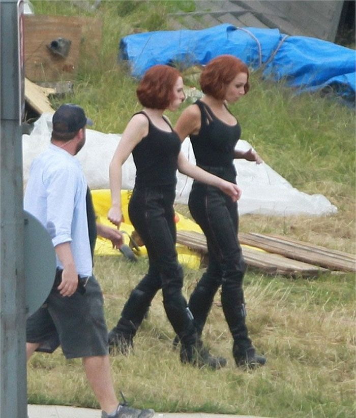 Scarlett with her stunt double