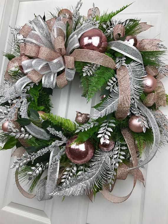 Christmas Wreath Rose Gold Christmas Rose Gold Decor Silver