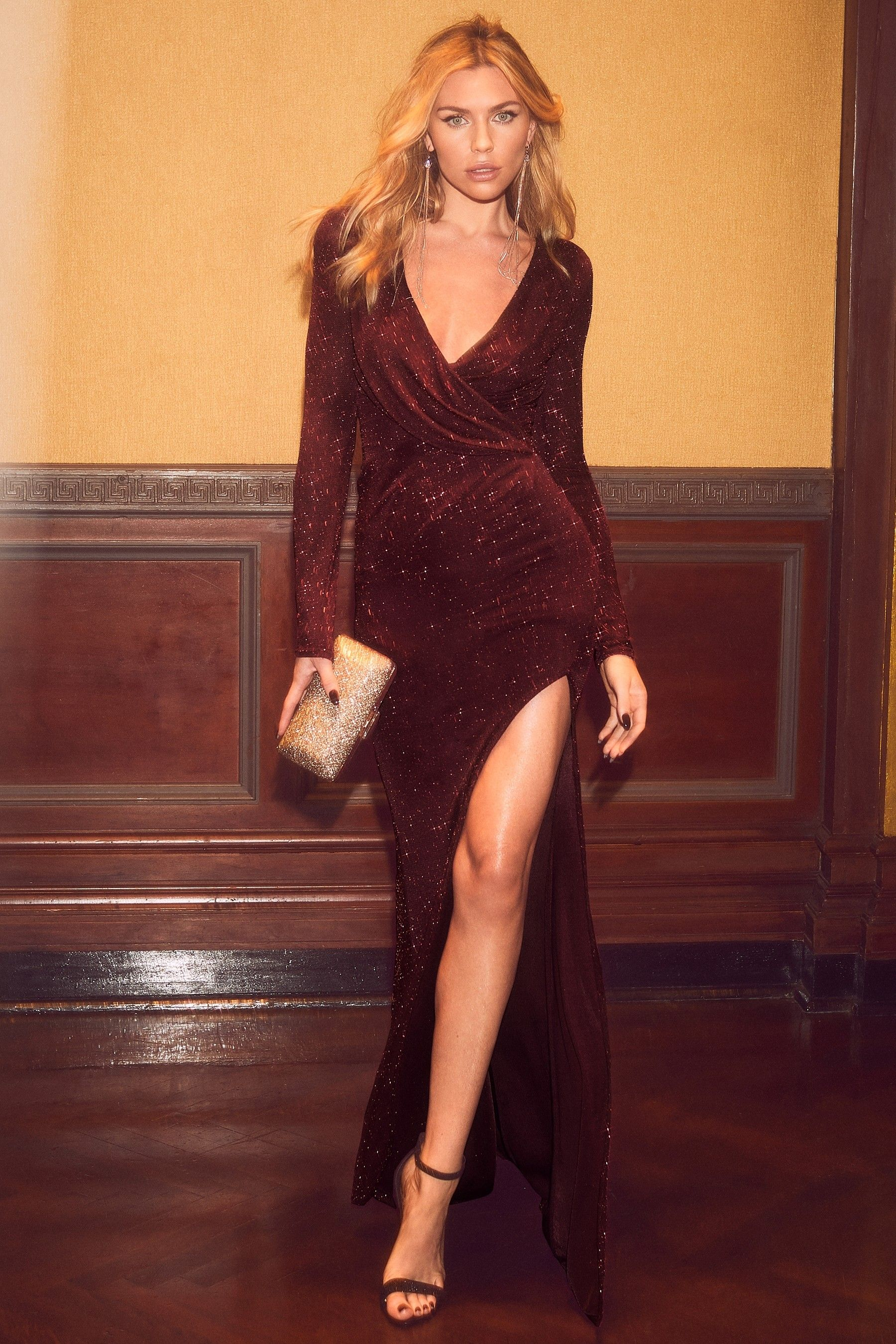 23a13465aab7 Womens Abbey Clancy x Lipsy Tall Glitter Wrap Maxi Dress - Red in ...