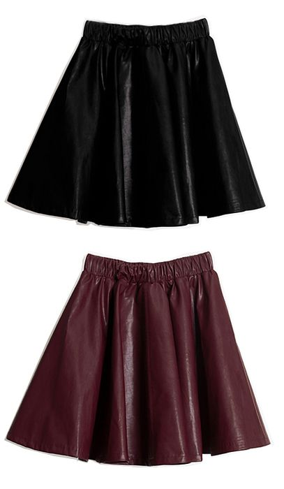Leather Flare Skirt | Fall & Winter | Dolly & Molly | www.dollymolly.com | #wine #darkchocolate #shiny #fw #aw2013 #fashion #musthave #runway #backstage #sponsor #shades #chic #party #prom #dress