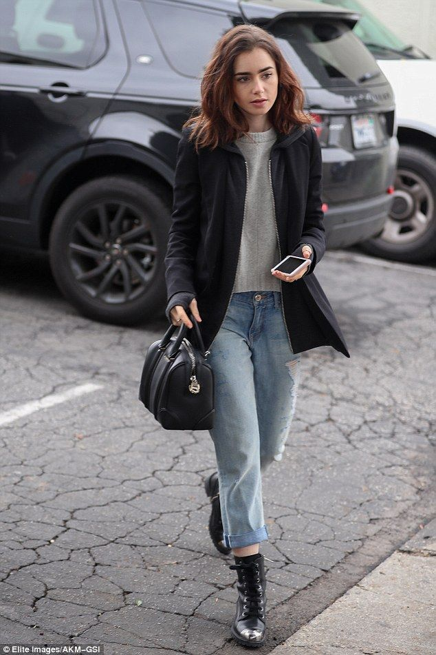 42a2267280295d Mom jeans: Lily Collins stepped out in high-waisted denim and steel-toed  boots on Monday for a solo lunch outing in Los Angeles
