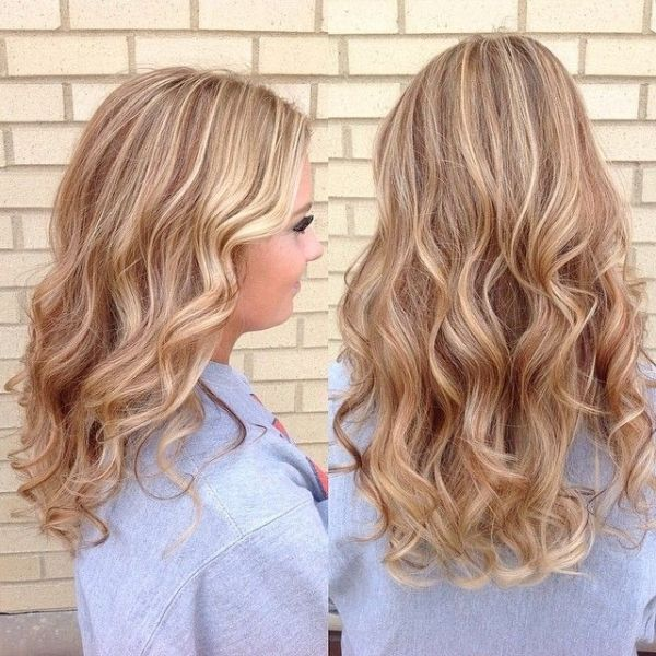 Golden Blonde With Strawberry Lowlights And Platinum Highlights By