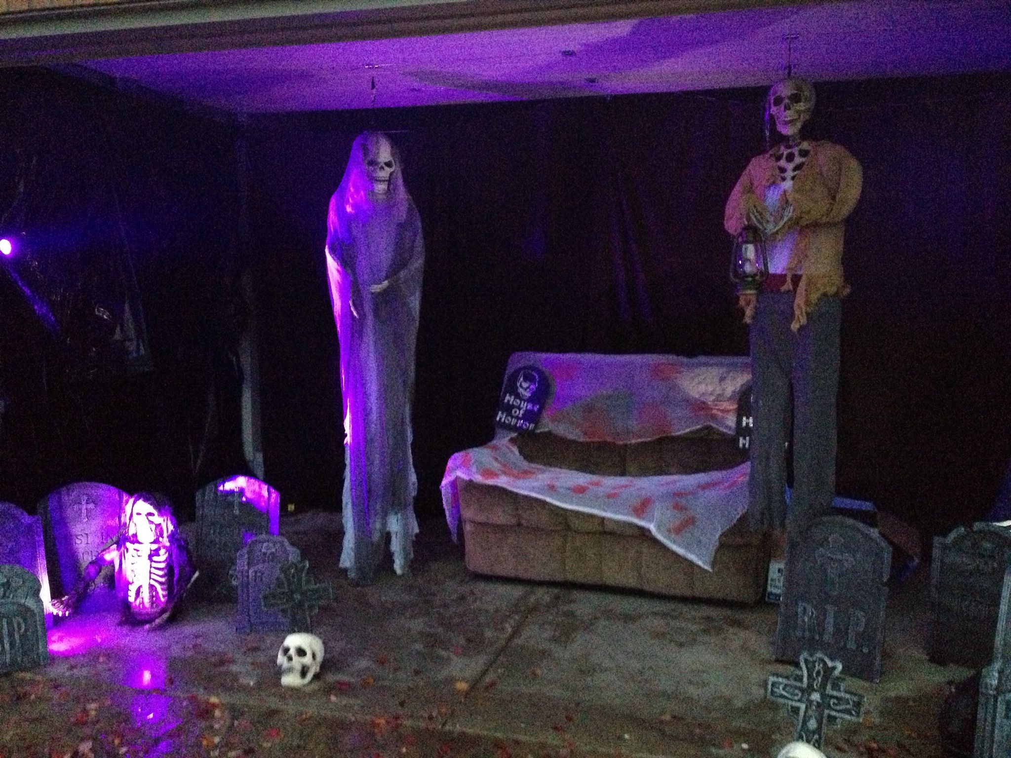 Easy Halloween Garage Transformation All You Need Garbage Bags A Strobe Light Or Two A Few Tomb Stones And Few Other Halloween Decorations