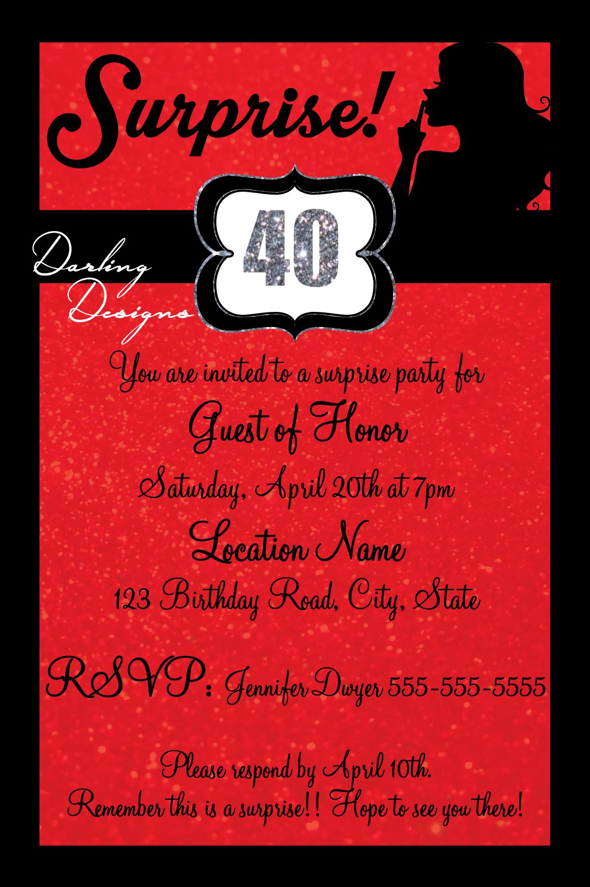 Suprise 40th birthday invitation! 4X6 Red, black, silver color ...