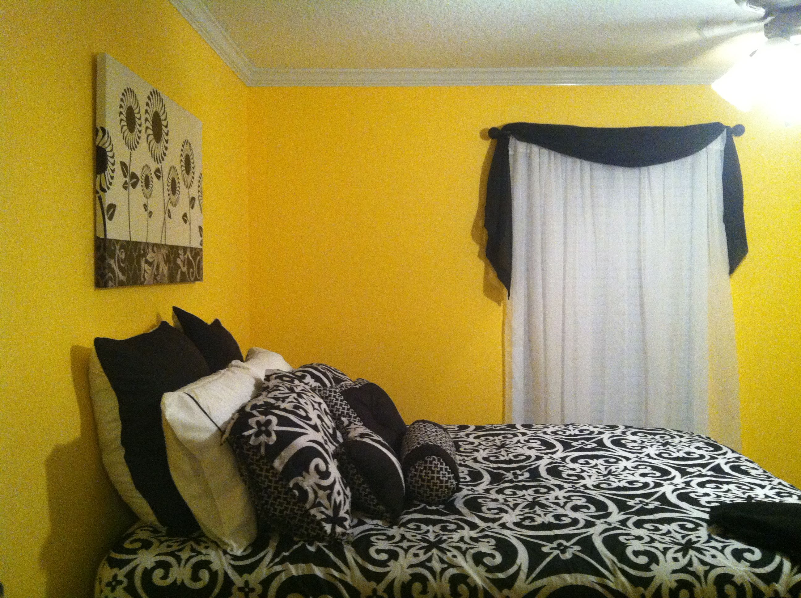 Black And White Bedroom With Yellow Walls Black White Bedrooms