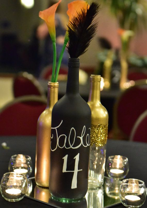 set of 10 gold glittery wine bottle by itsagatsbywedding on etsy wine bottle ideas wine. Black Bedroom Furniture Sets. Home Design Ideas