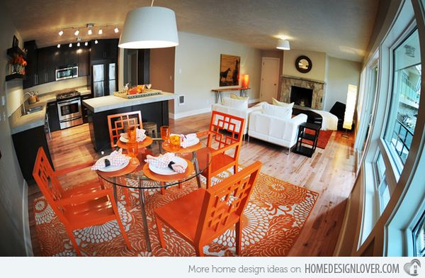 15 Catchy Orange Dining Room Designs Orange Dining Room, Dining   Orange  Kitchen Chairs