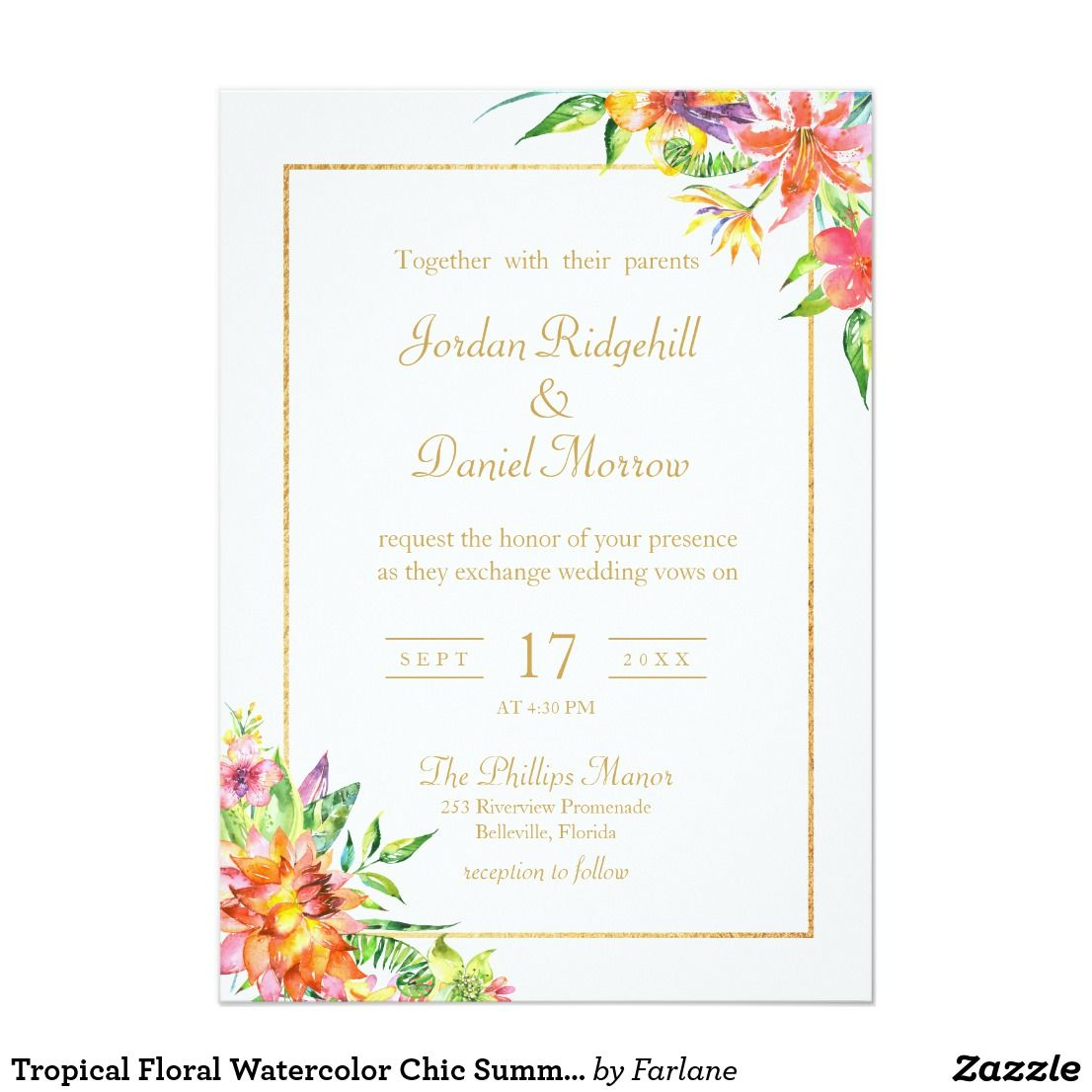Tropical Fl Watercolor Chic Summer Wedding Invitation