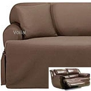 Reclining Loveseat Slipcover T Cushion Ribbed Texture Chocolate Adapted For Dual Recliner Love Seat