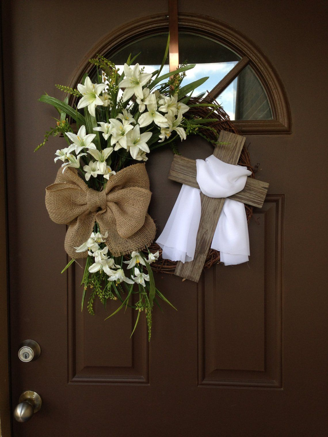 Easter Wreath With Cross Rustic Grapevine Easter Wreath With Burlap Bow Easter Decorations Easter Decor Easter Front Door Wreath Easter Front Door Easter Grapevine Wreath