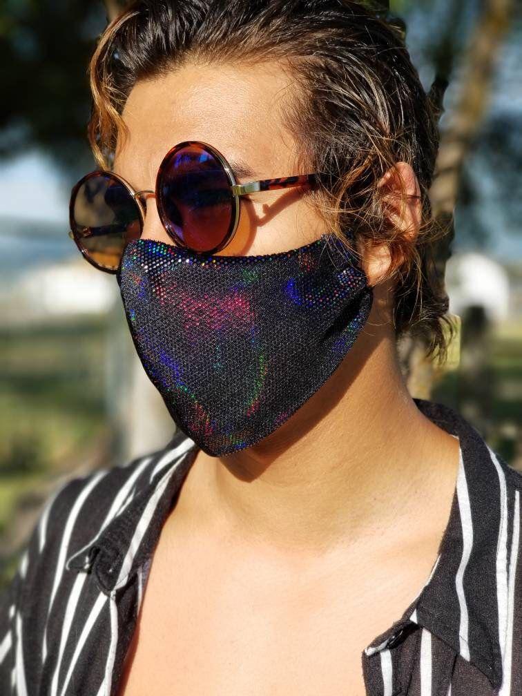 Rave Mask| Face Mask| Fashion Mask| Iridescent Mask