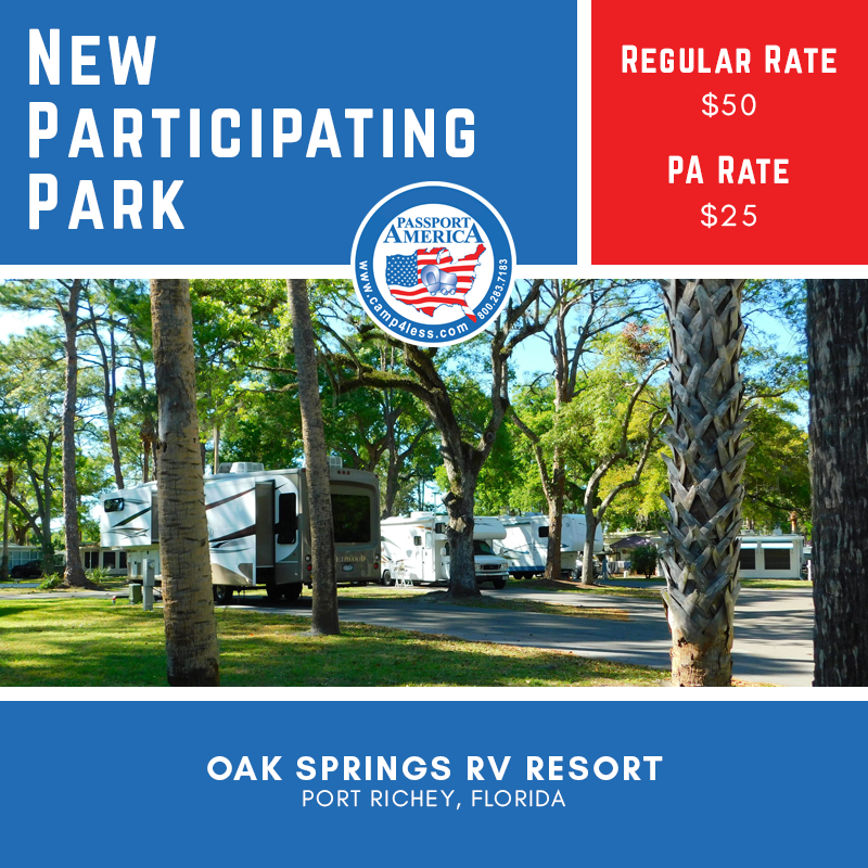 Located In Port Richey Florida Oak Springs Rv Resort Offers 528 Rv Sites Accommodates Rvs Up To 48ft Full Hookups In 2020 Florida Campgrounds Resort Camping Club
