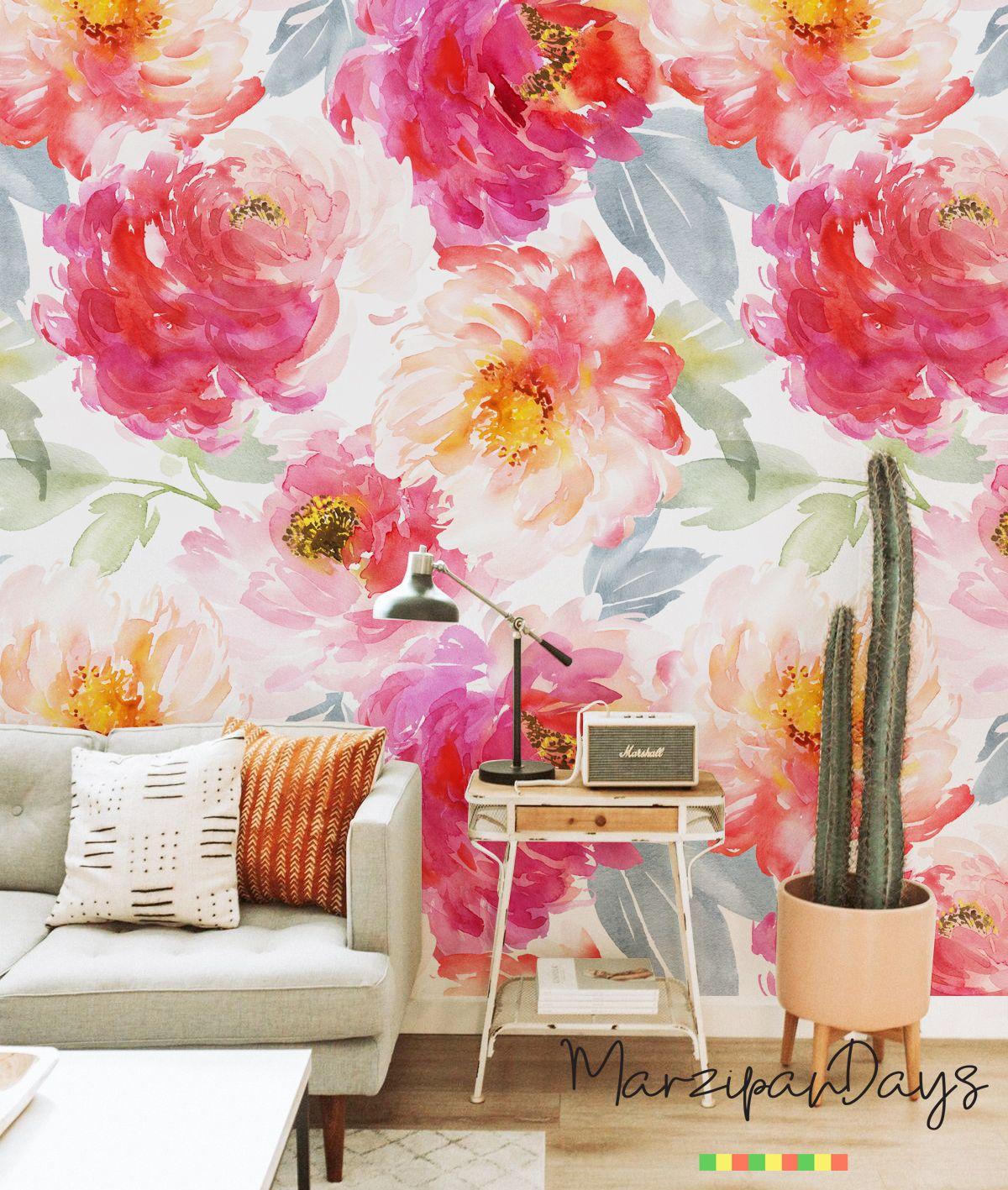 Boho Wallpaper Boho Flowers Peony Wallpaper Peonies Wall Mural