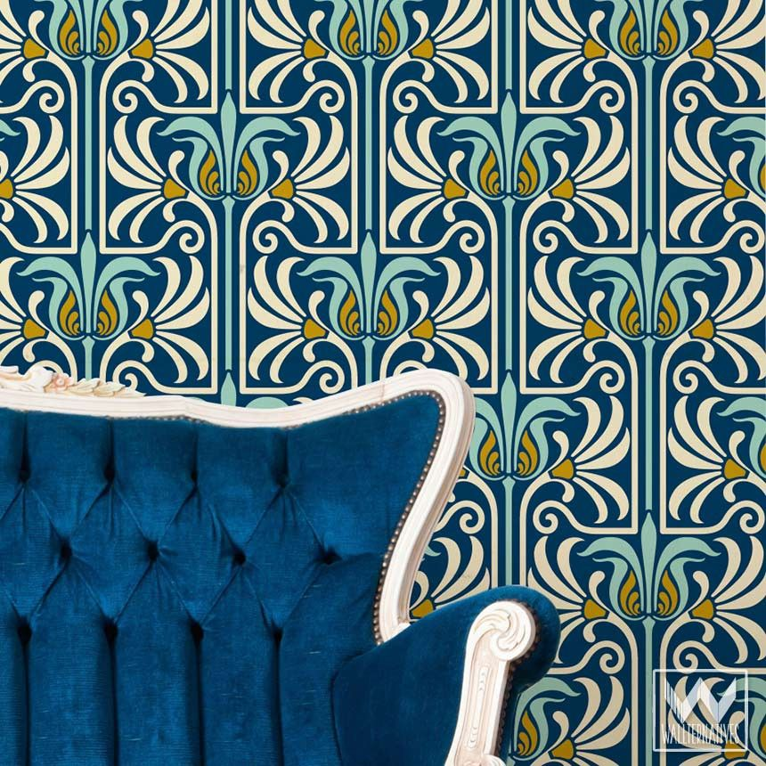 Art nouveau feather damask removable wallpaper pinterest for Teal peel and stick wallpaper