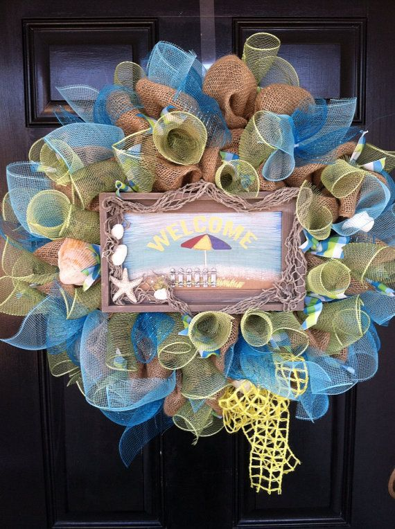Photo of Items similar to Large Burlap Beach Lake Pool House Welcome Wreath Spring Summer Easter Mothers Day Seashell Ocean Blue Mesh Ribbon Wreath on Etsy