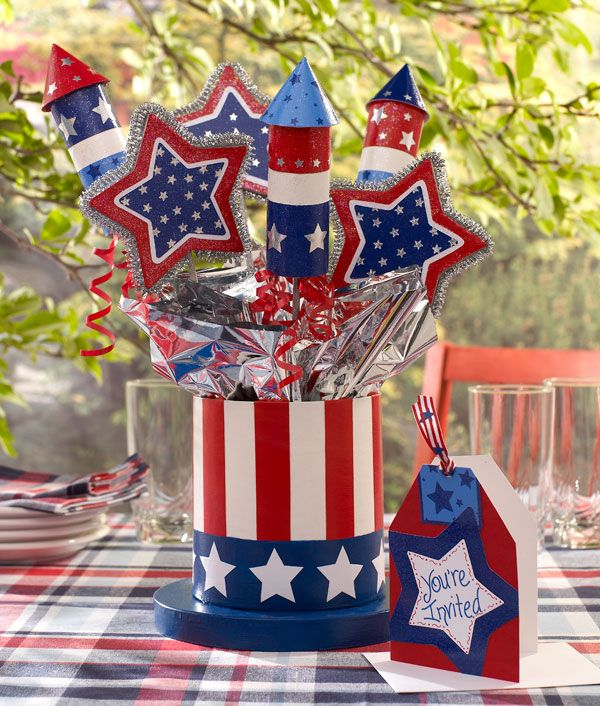 4th Of July Top Hat Centerpiece With Invitation With Images