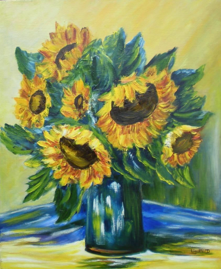 Site peinture a l huile les tournesols 46x38 fleurs pinterest le tournesol tournesols - Bouquet de tournesol ...
