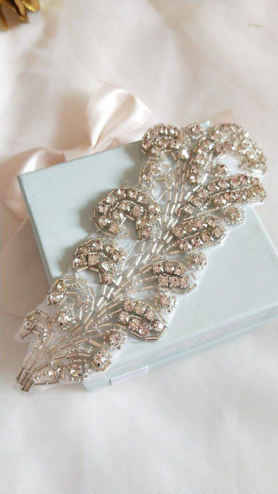 Big Leaf Rhinestone Applique Crystal Trim Rhinestone Beaded Applique Bridal  Accessories Wedding Dres 64d22765f075