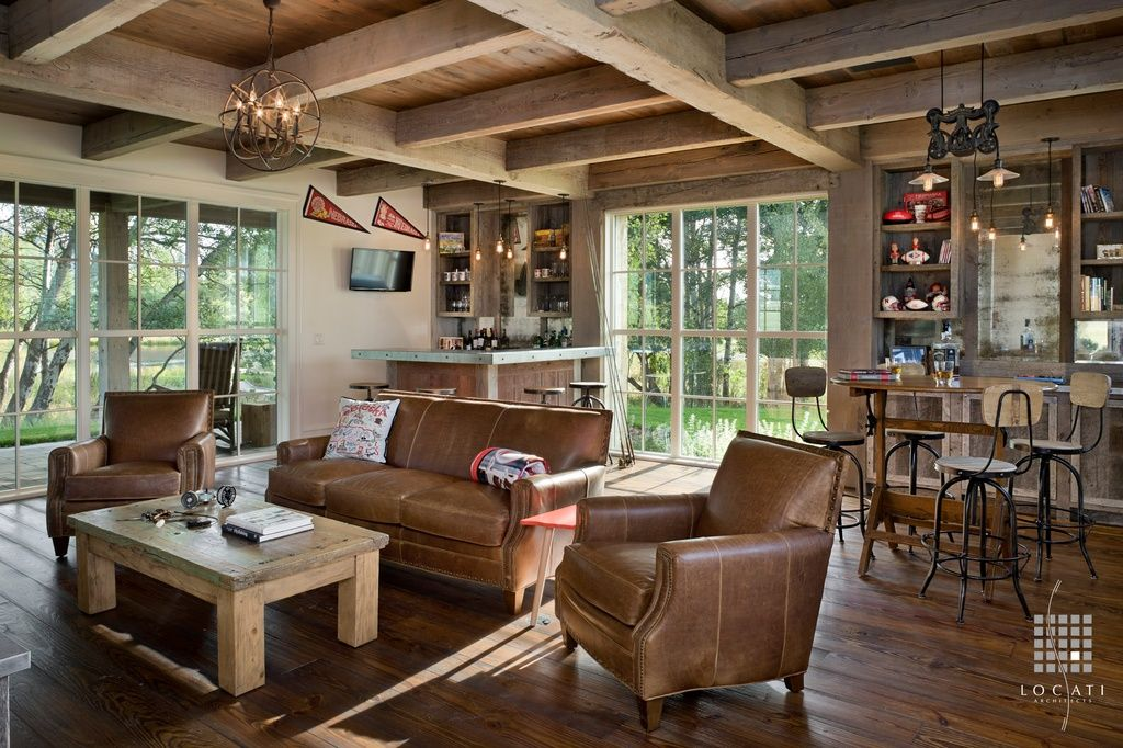 Rustic Family Room With Restoration Hardware Cast Iron Barn Door