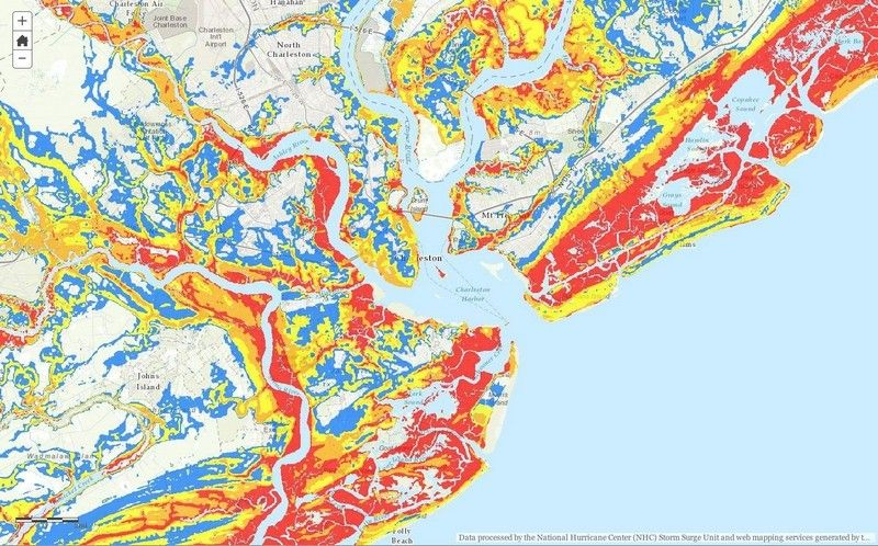 Online Map Shows Storm Surge Risk Fabric Painting Map National Hurricane Center