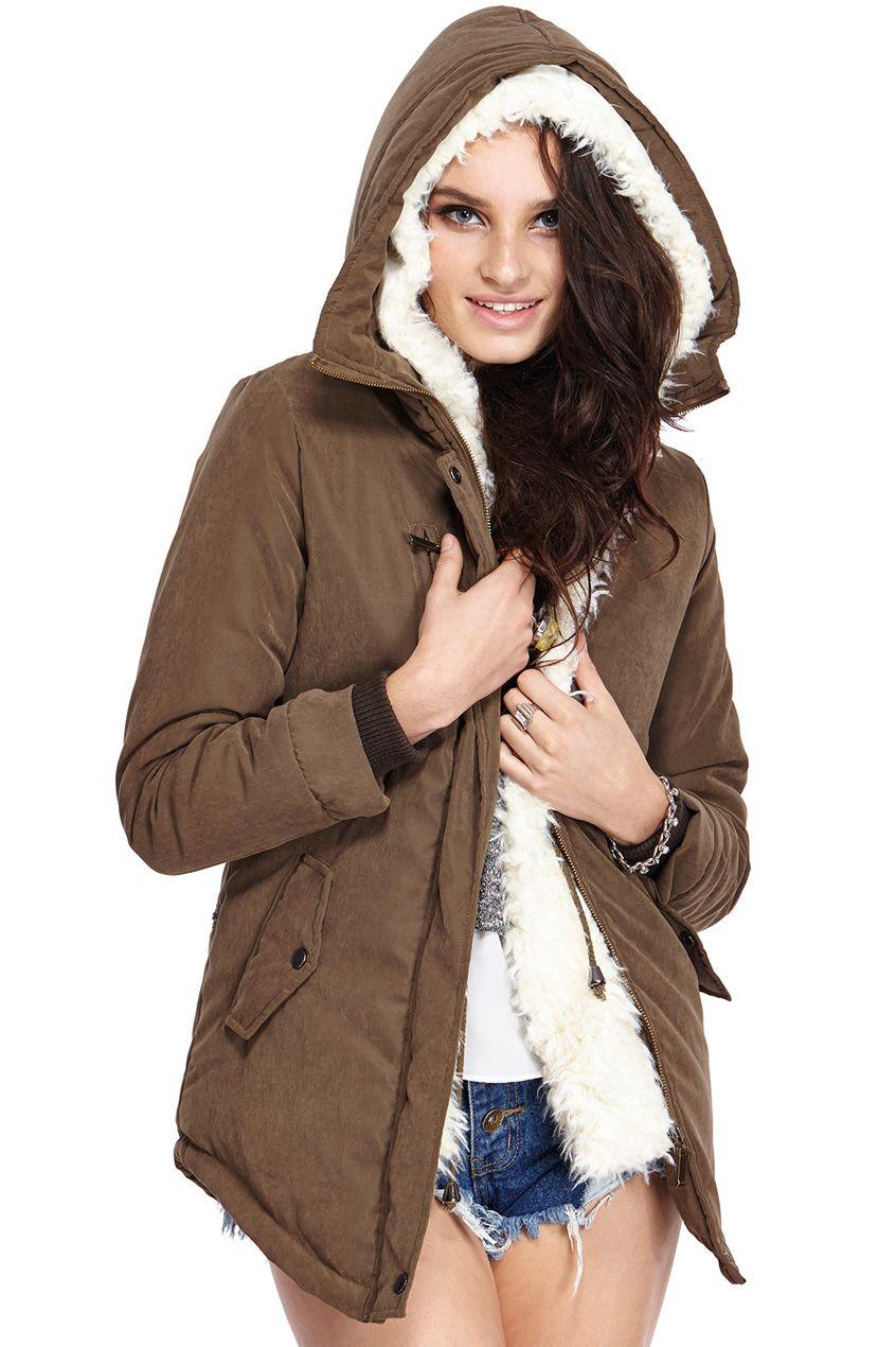 ROMWE Hooded Self-tied Slim Khaki Coat