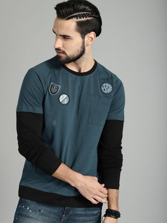 e4c8e8dc564a Roadster Blue & Black Cotton Round Neck T-shirt #Blue #Fullsleeve #Cotton  #Colorblock