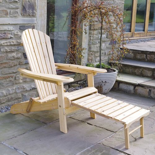 Newby Adirondack Armchair Lounger With Slide Away Leg Rest Patio