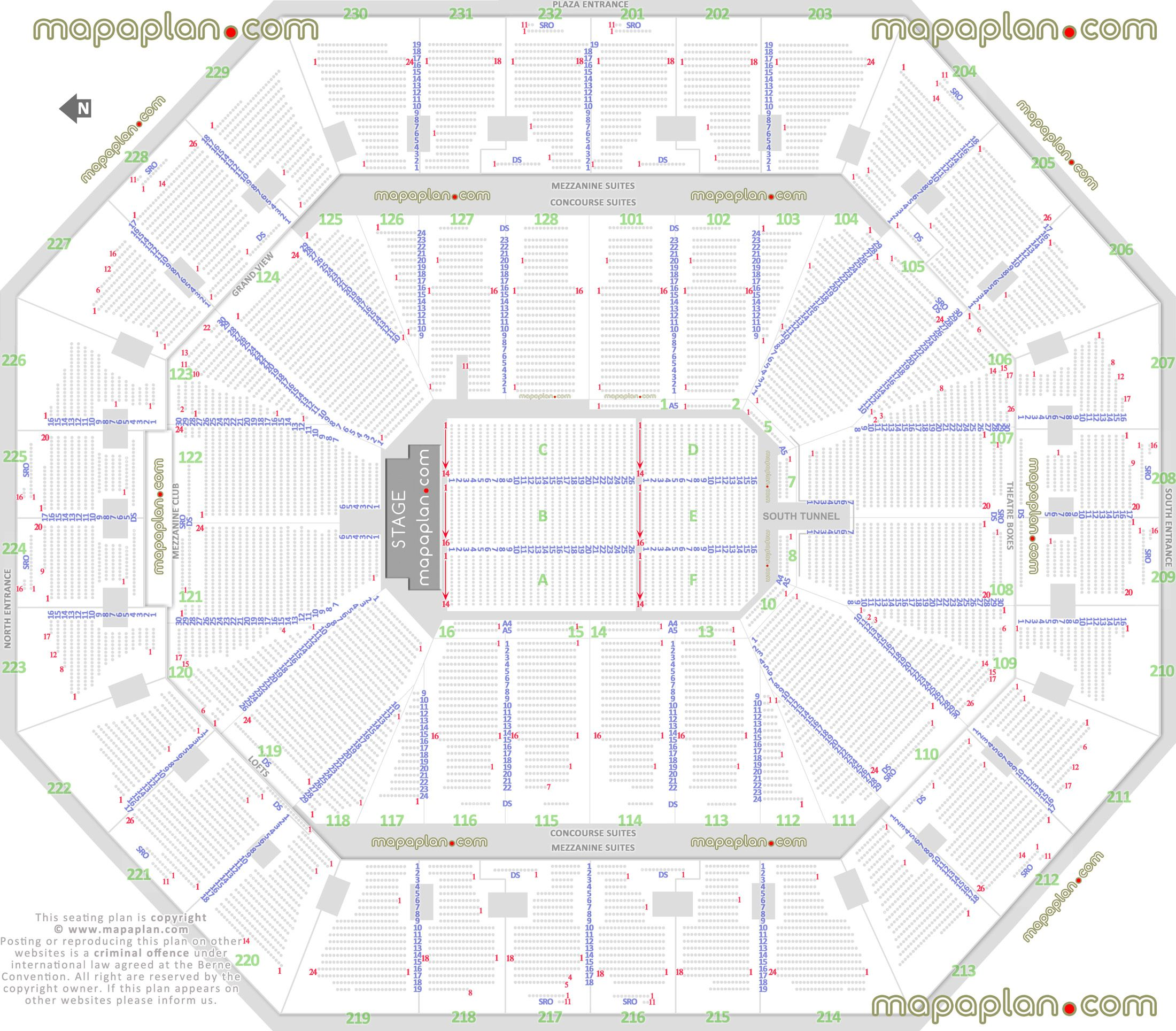 Detailed Seat Row Numbers End Stage Concert Sections Floor Plan Map Arena Lower Upper Level Layout Oakla Seating Plan Seating Charts Talking Stick Resort Arena