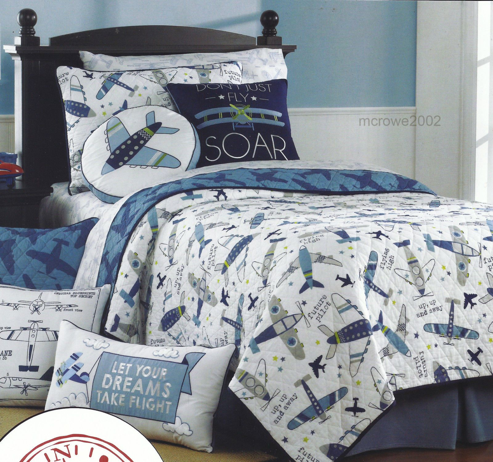 Details About Airplane Jet Twin Quilt Blue Gray Plane Fly
