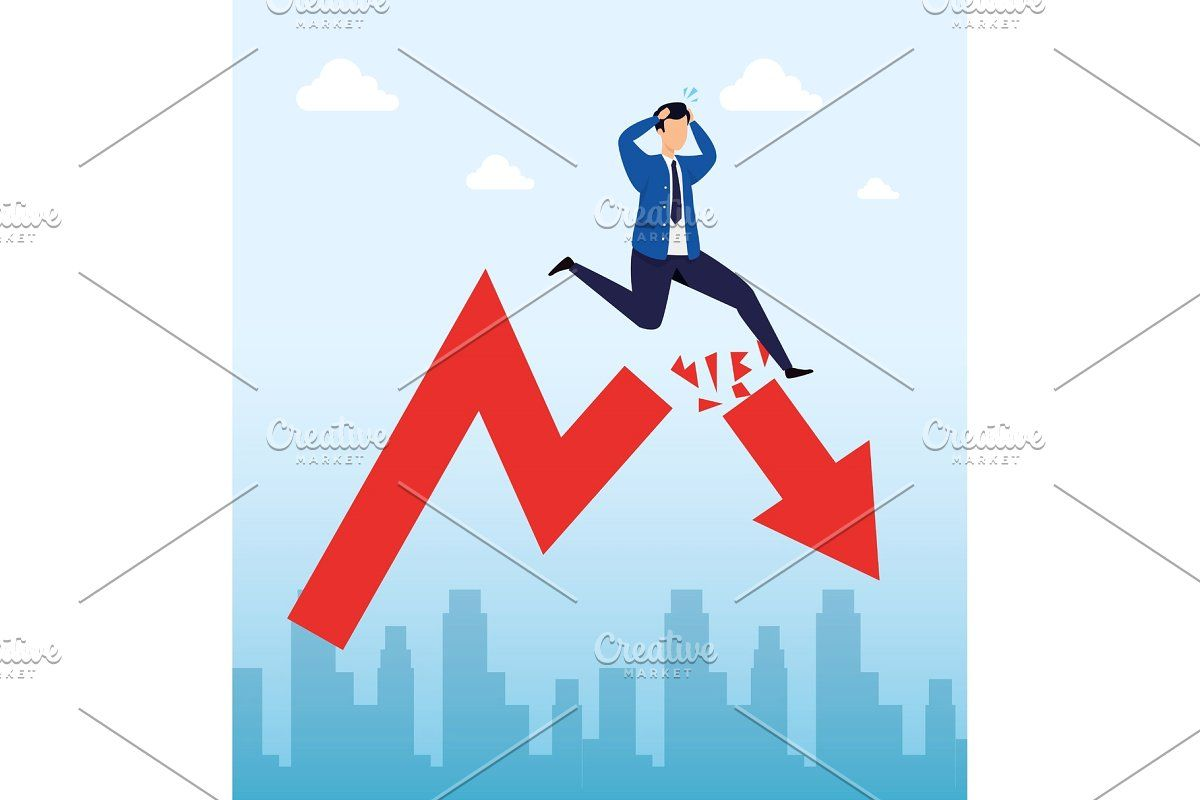 Stock Market Crash With Businessman In 2020 Stock Market Crash Illustration Vector Illustration Design