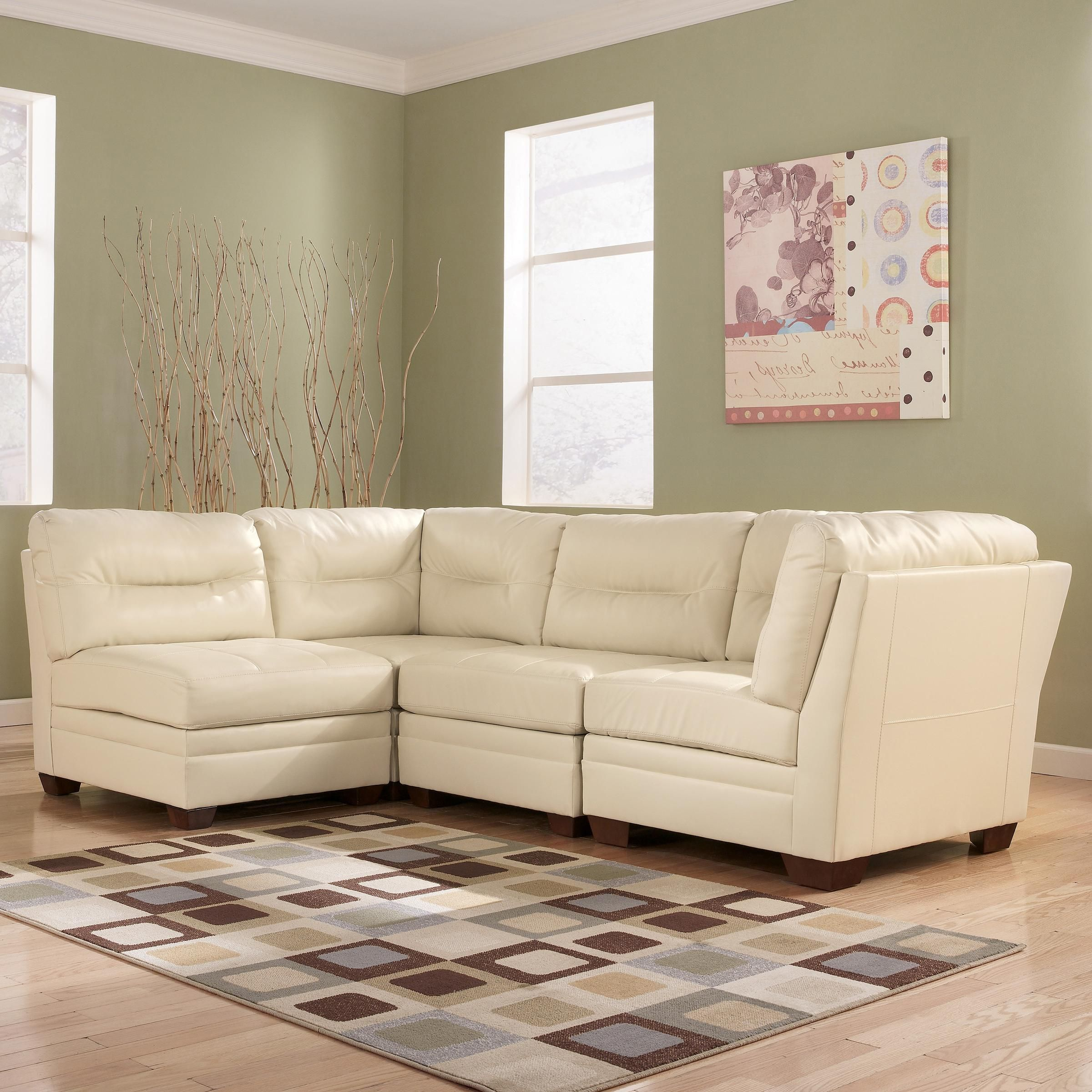 Durablend ivory 4 piece leather sectional by signature - Ivory painted living room furniture ...