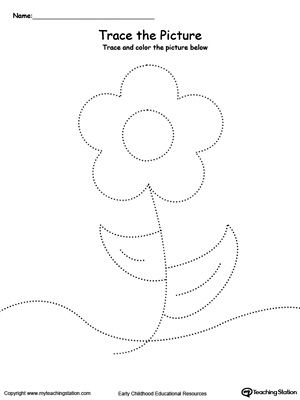 Flower Picture Tracing Preschool Tracing Tracing Worksheets Preschool Flower Pictures