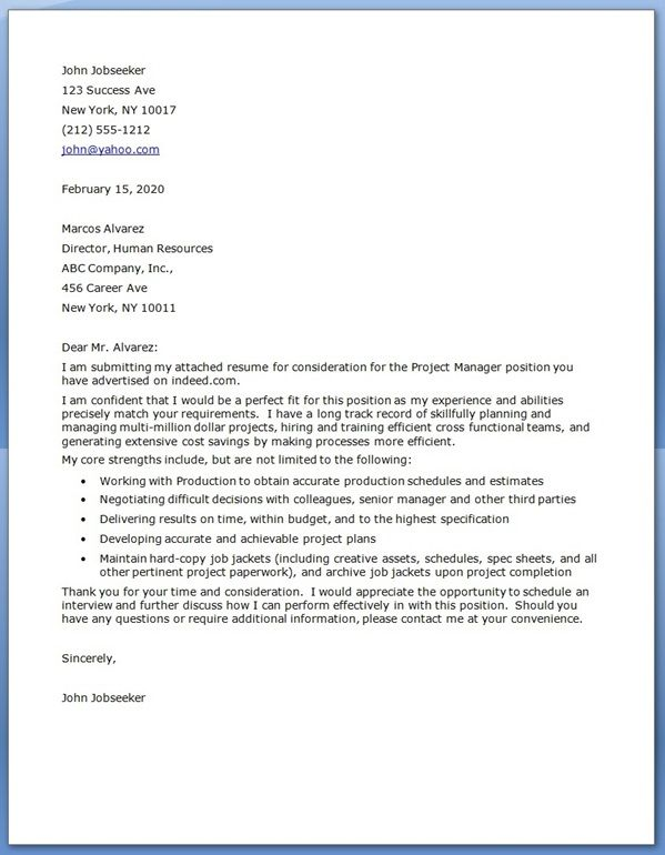 Project Manager Cover Letter Examples | Cover Letter for