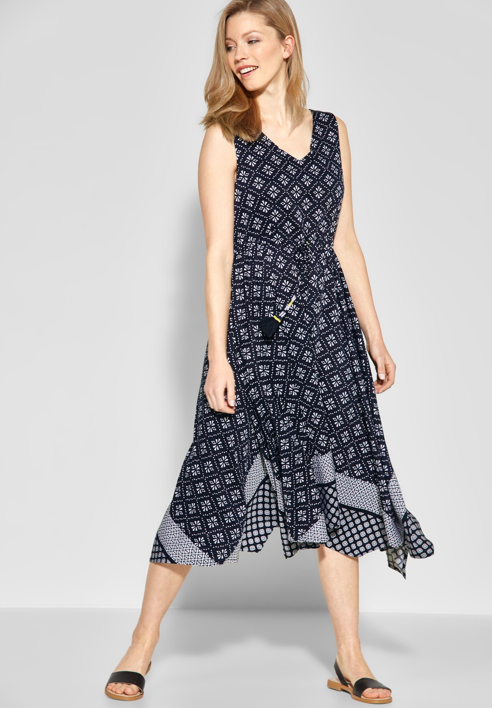 cecil - patchwork print kleid in deep blue | kleider damen