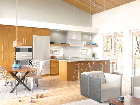 Dise o de sala comedor cocina de casa prefabricada for Diseno de interiores de casas planos