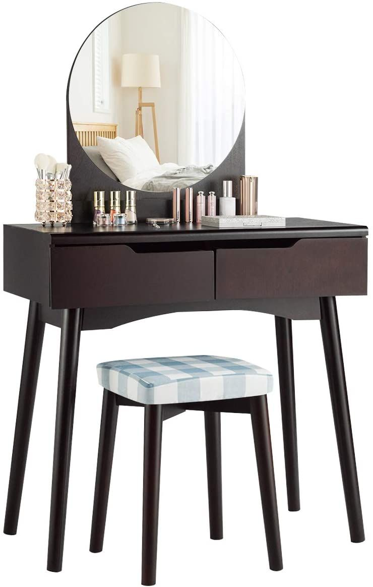 Charmaid Vanity Set With Round Mirror And 2 Organized Sliding Drawers Makeup Dressing Table With Dressing Table Vanity Vanity Table Set Bedroom Makeup Vanity [ 1164 x 740 Pixel ]