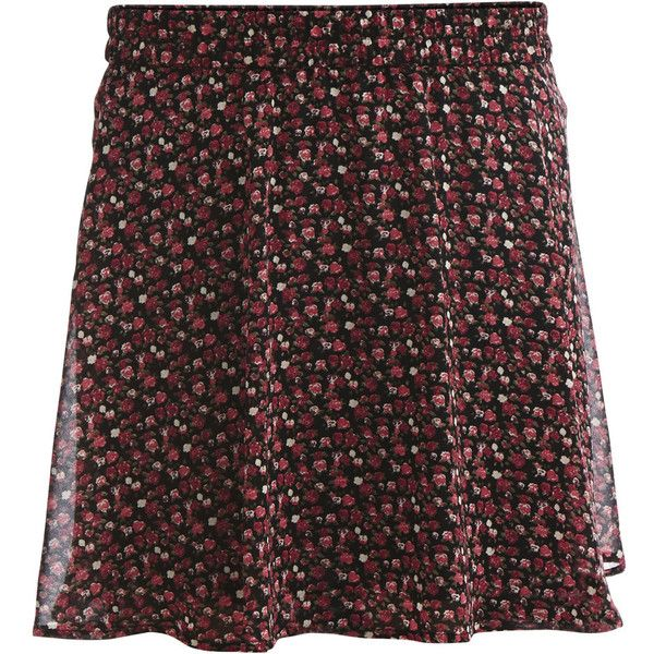 Vila Floral, Skater Skirt ($25) ❤ liked on Polyvore featuring skirts, black, floral knee length skirt, floral print skirt, circle skirt, flared skirt and floral print skater skirt