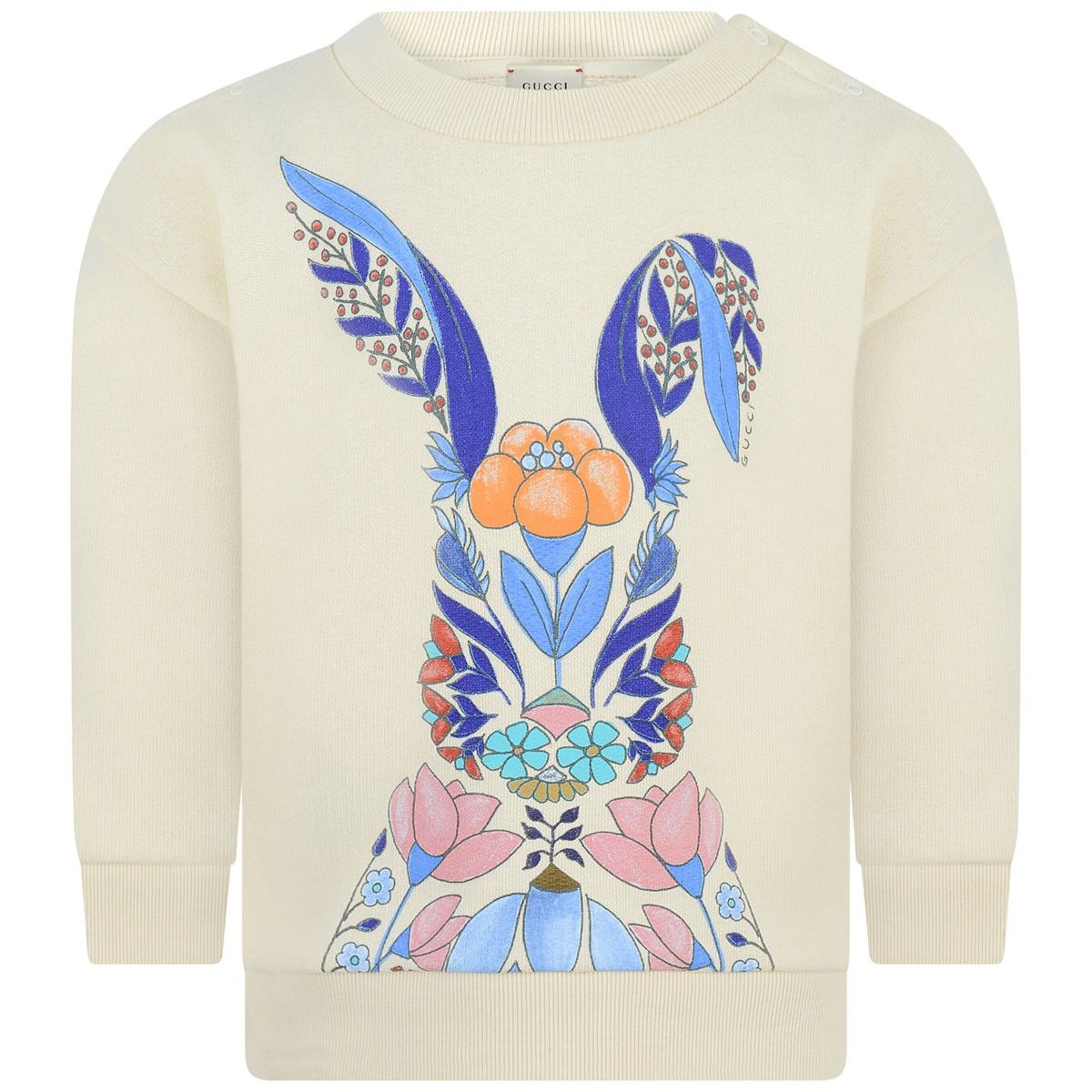 750d5208 GUCCI Baby Girls Ivory Floral Rabbit Sweatshirt | AW tears | Gucci ...