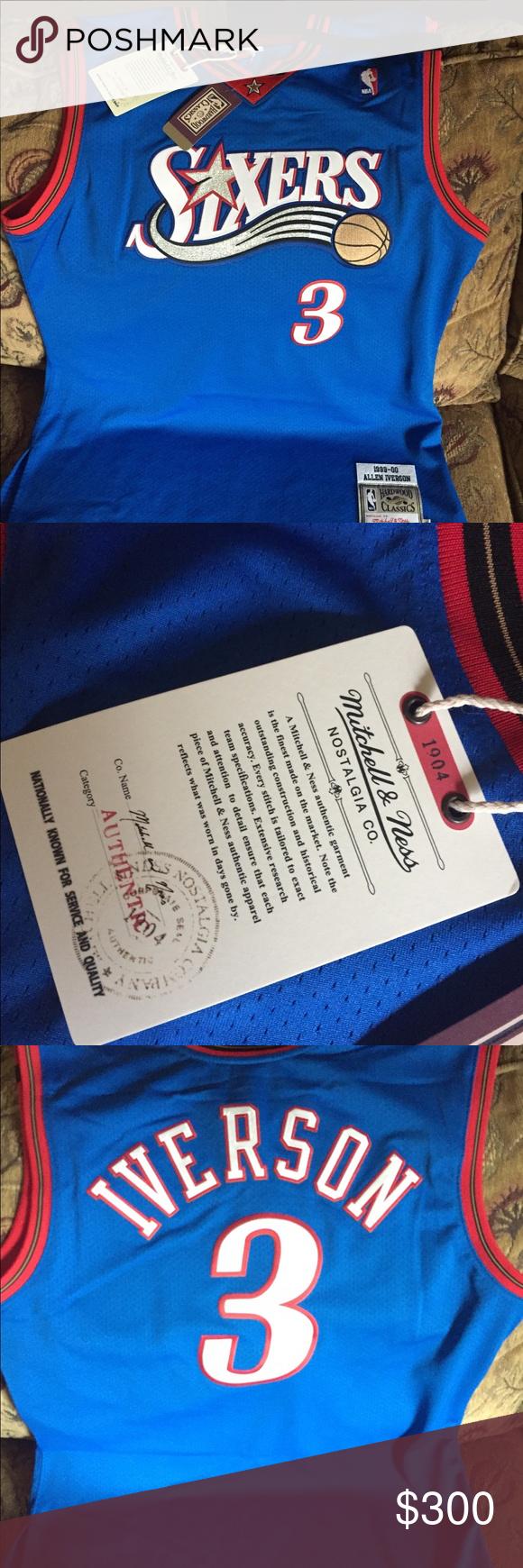 0c228741fbf NBA 🏀🏀🏀🏀 Allen Iverson Jersey Authentic Allen Iverson Philadelphia  76ers Mitchell & Ness Road 1999/2000 Hardwood Classics Authentic Jersey -  Royal size ...