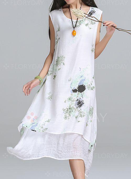 Ärmellos Blumen Asymmetrische Baumwolle Kleider | Lässig kleidung ...