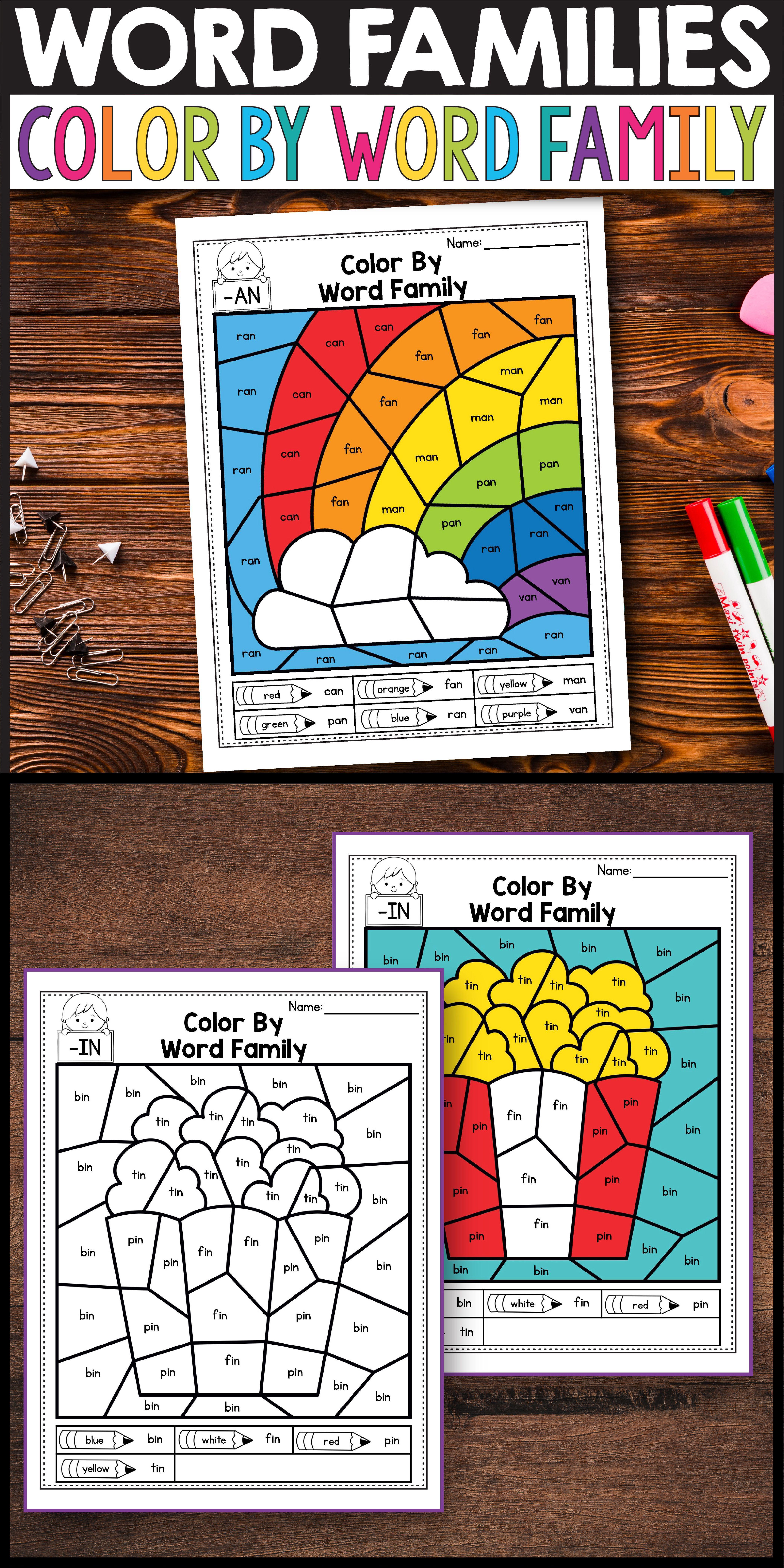 Blending Cvc Words Flashcards And Worksheets Cvc Words Word Family Worksheets Word Work Kindergarten [ 8334 x 4168 Pixel ]