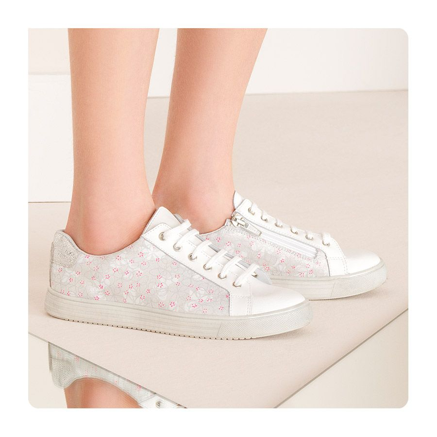 Baskets Sneakers Fille Cuir Blanc | Sneakers, Basket