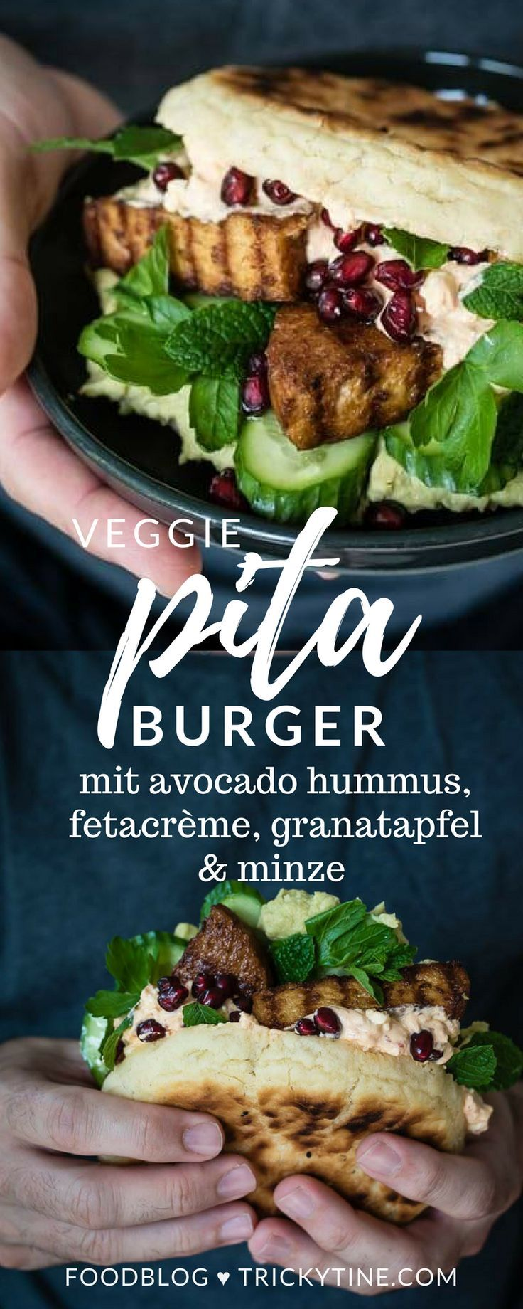 veggie pitta burger mit avocado hummus, fetacrème, granatapfel & minze ♥
