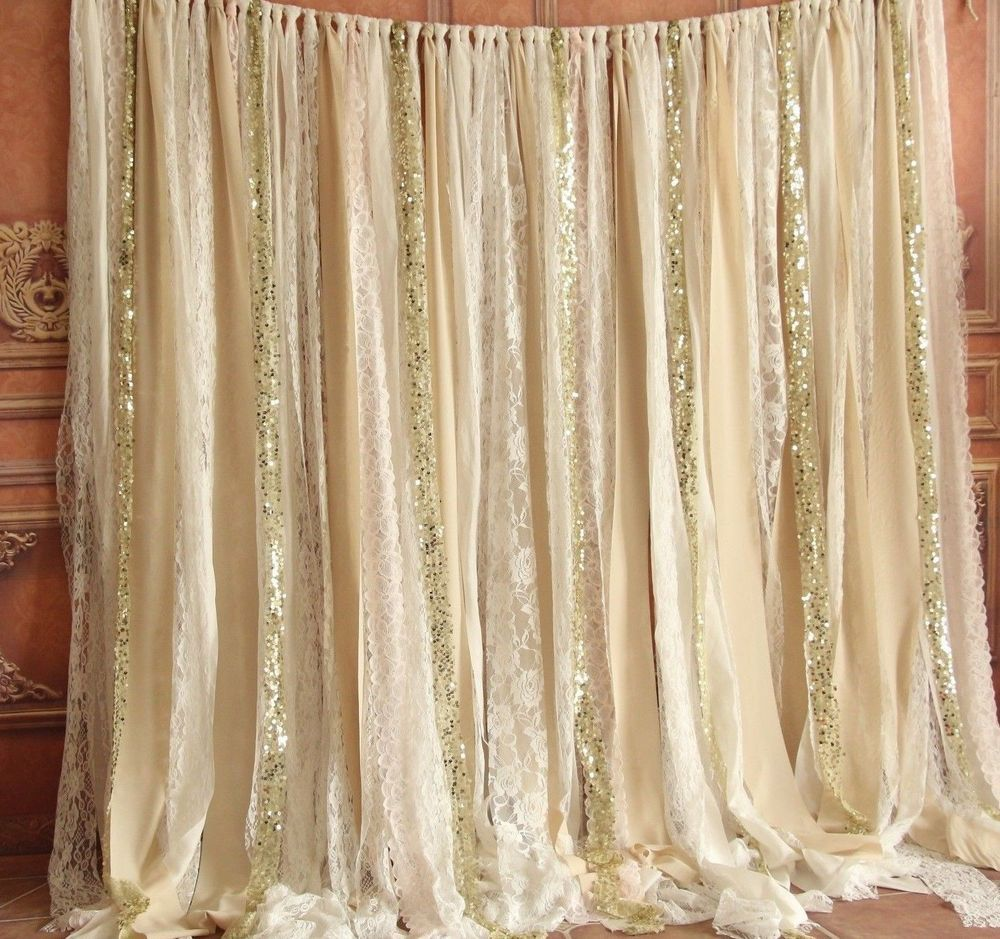 Champagne Fabric Photobooth Wedding Baby Shower Party Curtain Backdrop Garland